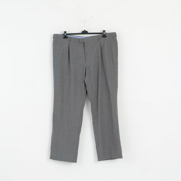 Linear Mens 3XL Trousers Grey Wool Classic Elegant Plus Size Pants