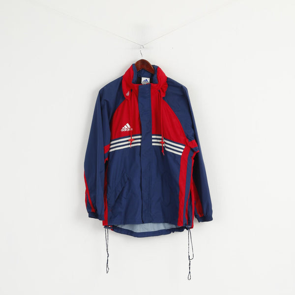 Adidas Men M Jacket Navy Red Nylon Waterproof Hidden Hood Full Zipper Top