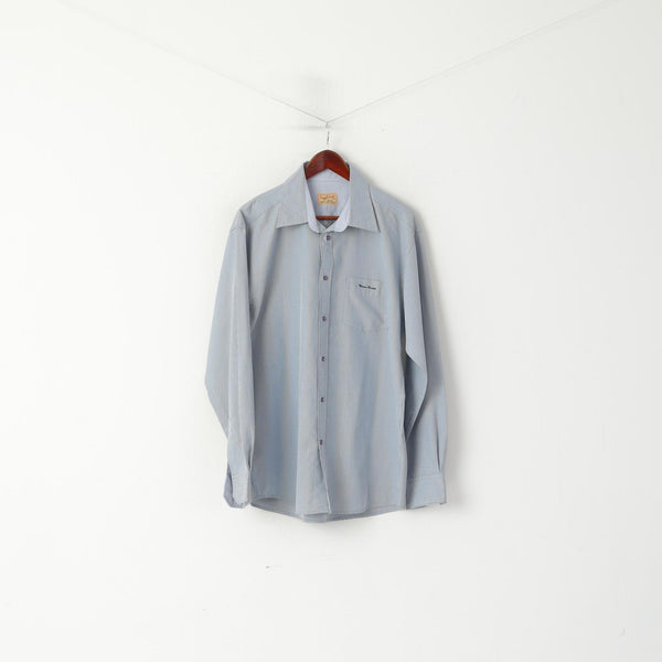 Thomas Browne Men XL Casual Shirt Blue Cotton Check Custom Modal Long Sleeve Top