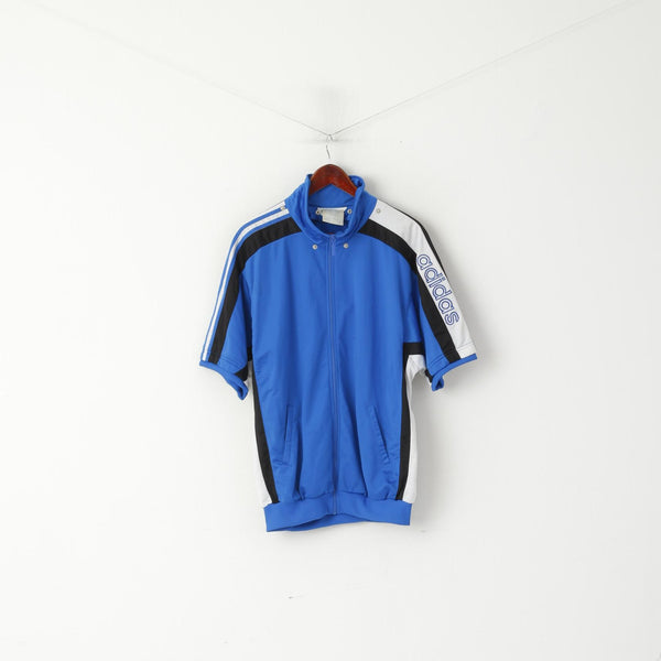 Adidas Men L 186 Sweatshirt Blue Vintage Warm Up Short Sleeve Full Zipper Top