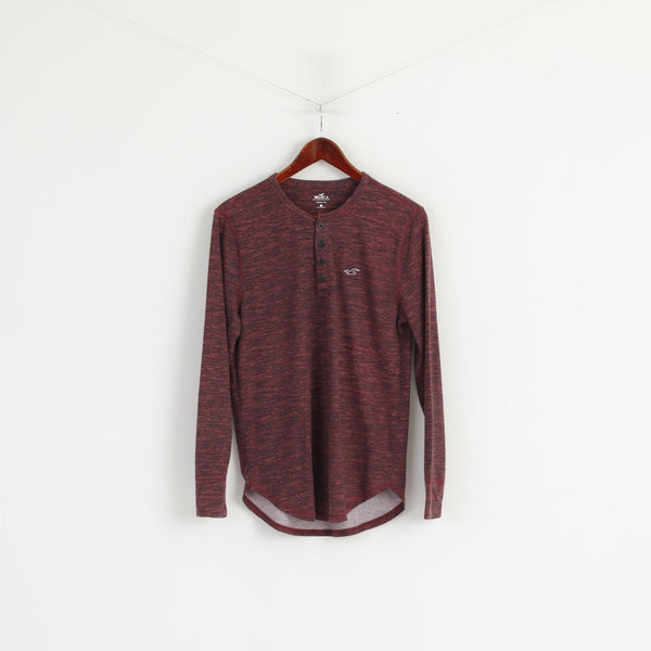 Hollister Men S Long Sleeved Shirt Maroon Cotton Henley Tee Basic Stretch Top