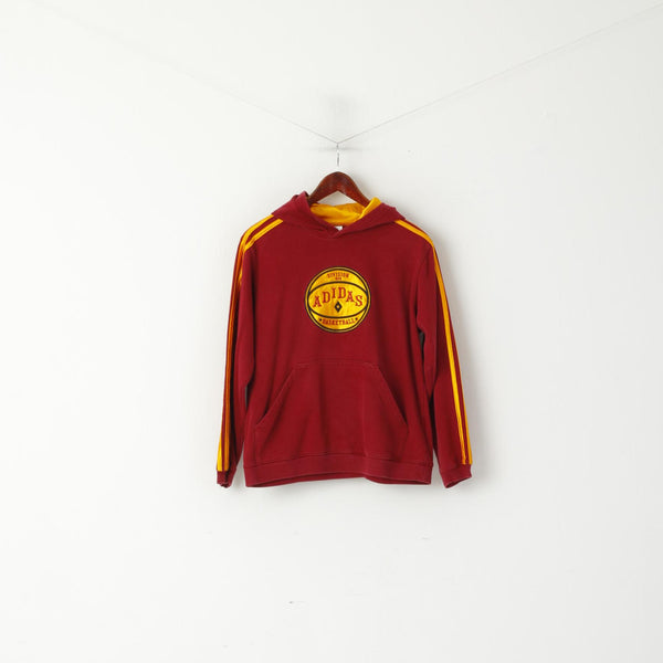 Adidas Youth 14 Age 164 Sweatshirt Burgundy Cotton Basketball Division Hoodie