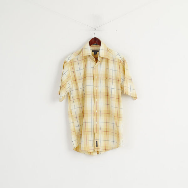 Gant Men M Casual Shirt Yellow Hampton '50 Twill Sport Fit Checkered Cotton Top