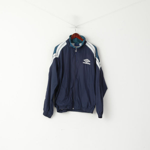 Umbro Men L Jacket Navy Activewear Vintage 90s Retro Zip Up Training Sportswear Top