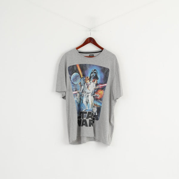TU Star Wars Men XXL Shirt Grey Cotton Graphic Short Sleeve Basic Top