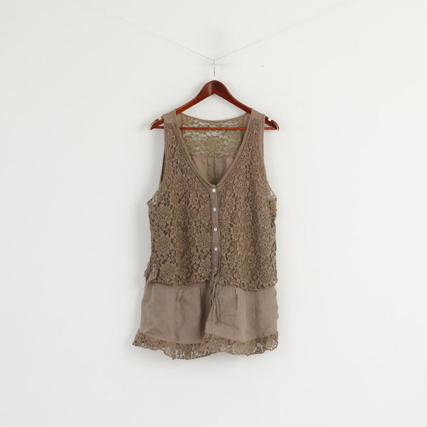 Made in Italy Women XXXL (XXL) Shirt Brown 100% Linen Lace Sleeveless Tunic Top