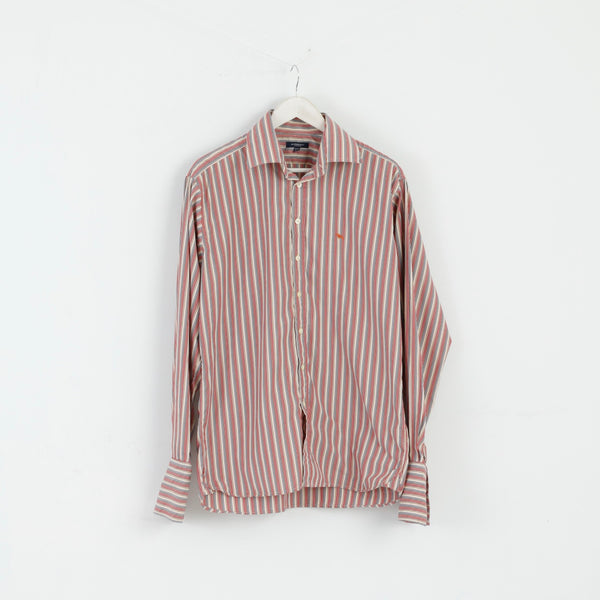 Burberry London Mens 16.5 42 XL Casual Shirt Beige Striped Cotton Cuff Long Sleeve