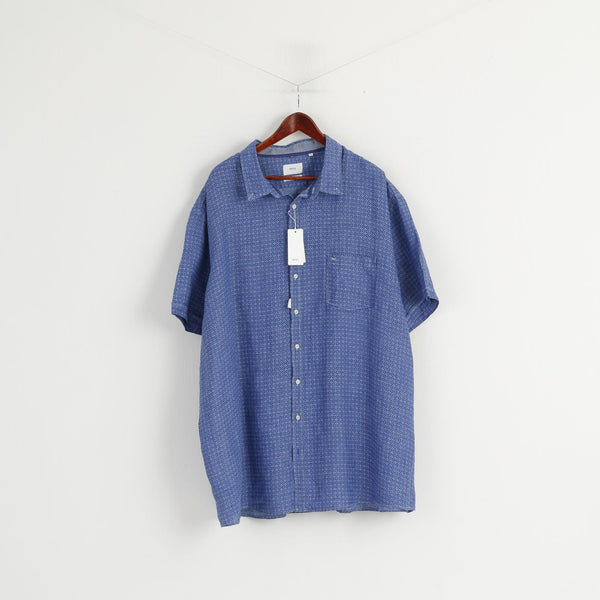 New Brax Men 5XL 51/52 Casual Shirt Blue 100% Linen Style Drake Short Sleeve Top