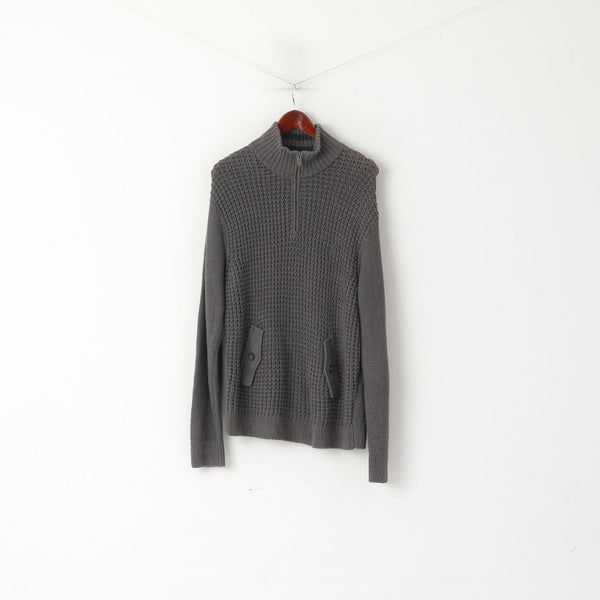 Original Penguin Men L Jumper Grey Cotton Blend Knit Zip Neck Pockets Sweater