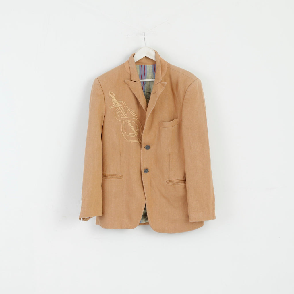 As 7 Th Lum Mens 40 S Blazer Beige Linen Cotton Blend Emroidered Jacket