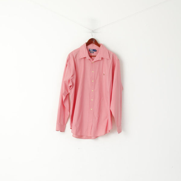 Polo By Ralph Lauren Men 16.5 XL Casual Shirt Pink Cotton Yarmouth Long Sleeve Top
