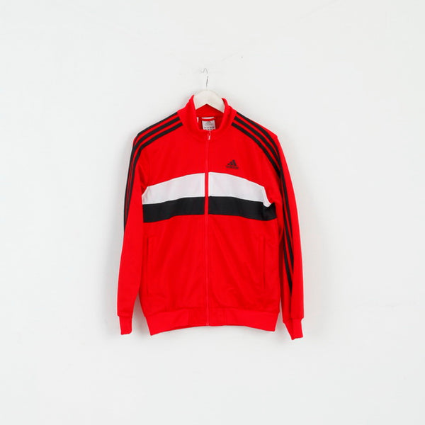 Adidas Boys 13 - 14 Age 164 Sweatshirt Red Shiny Zip Up Activewear Top