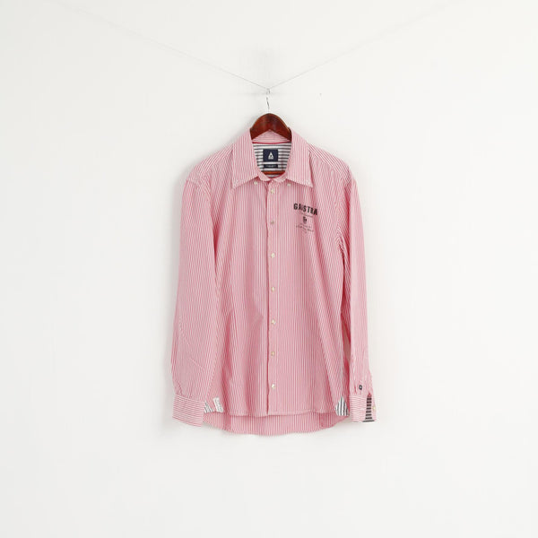 Gaastra Men XL Casual Shirt Pink Striped Cotton North Peninsula Island Long Sleeve Top