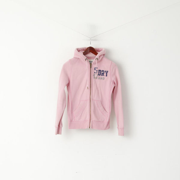 Superdry Women XS Sweatshirt Pink Cotton Zip Up Hoodie Japan Spirt Sport Top