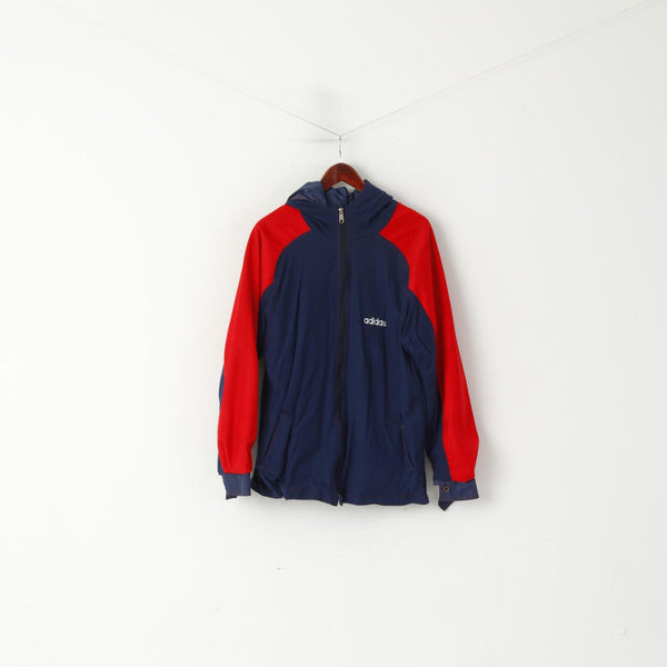 Adidas Men M Jacket Navy Vintage Red Double Sided Hooded Lightweight Top