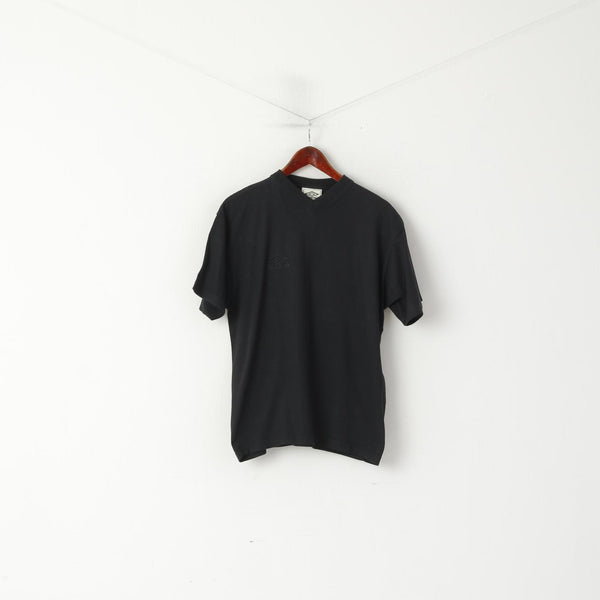 Umbro Men S Shirt Black Cotton V Neck Emroidered Logo Classic Vintage Top