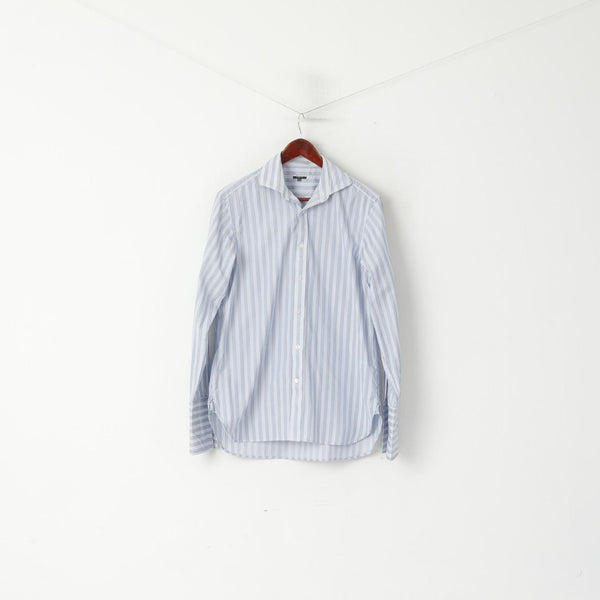 Jaeger London Men 15.5 M Casual Shirt Blue Striped Cotton Cuff Long Sleeve Top