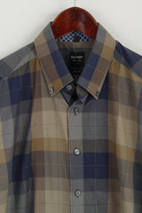 "Olymp Level Five Men 16"" 41 L  Casual Shirt Brown Check Body Fit Long Sleeve Top"