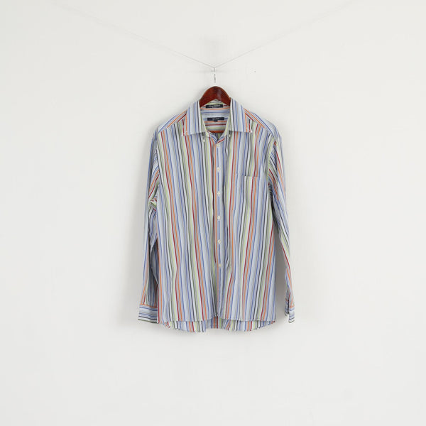 Gant Men L Casual Shirt Blue Cotton Striped Liberty Bell Poplin Regular Fit Top