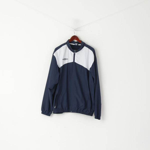 Umbro Men XL Jacket Navy Activewear Mesh Lined Retro Full Zipper Football Top