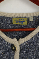 Hine Seven Country Women S Sweater Blue Embroidered Daisies Button Front Cardigan