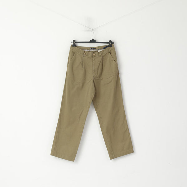 Barbour Men 34 Trousers Green Cotton Green Classic Straight Leg Casual Pants