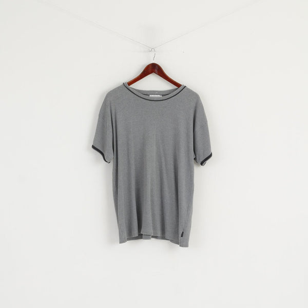 Paul Smith Men L Shirt Grey Cotton Crew Neck Plain Classic Short Sleeve Top