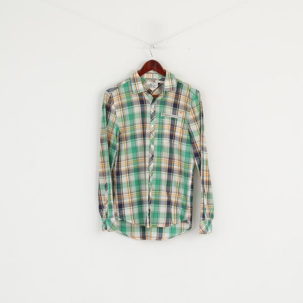 Diesel Men S Casual Shirt Green Cotton Checkered Zip Pocket Long Sleeve Top