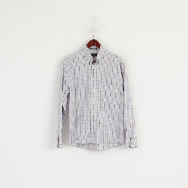 Gant Men M Casual Shirt White Check Newport Poplin Regular Fit Cotton Long Sleeve Top