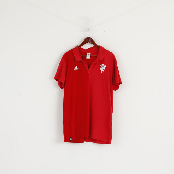 Adidas Men 2XL Polo Shirt Red Cotton Manchester United Football Devil Top