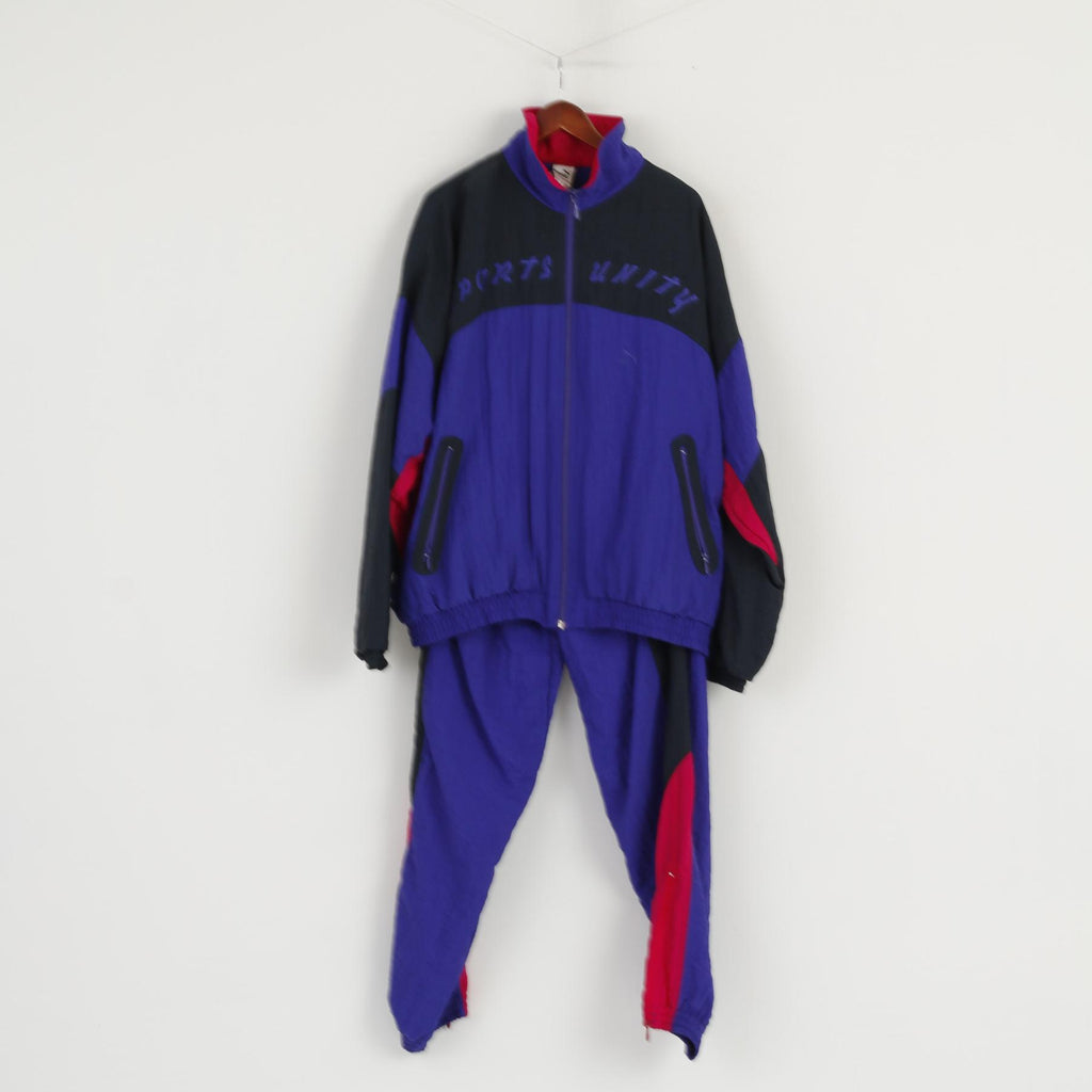 Puma Men 46 XXL Tracksuit Vintage Purple Shiny Sports Unity Nylon Oldschool Set
