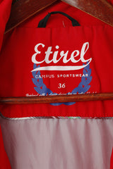 Etirel Women 36 S Jacket Red Campus Sportswear Hooded Full Zipper Pockets Top