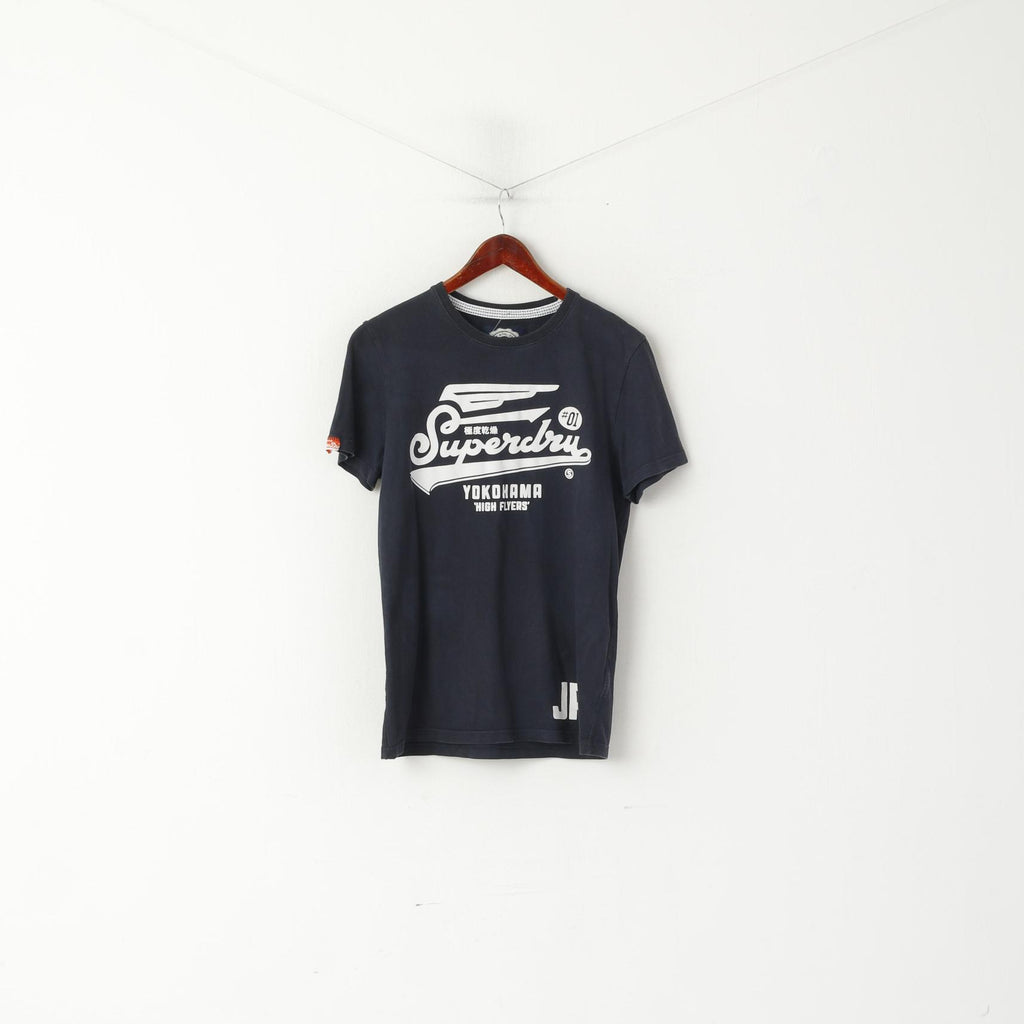 Superdry Men L (M) Shirt Navy Cotton Graphic Yokohama High Flyers Logo Top