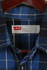 Levi's Men S Casual Shirt Navy Blue Check Cotton Standard Fit Long Sleeve Top