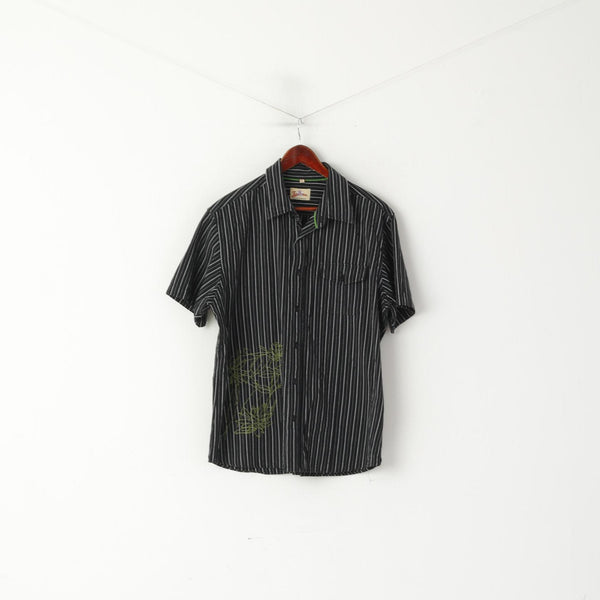 Joe Browns Men XL Casual Shirt Black Cotton Striped Embroidered Pocket Top