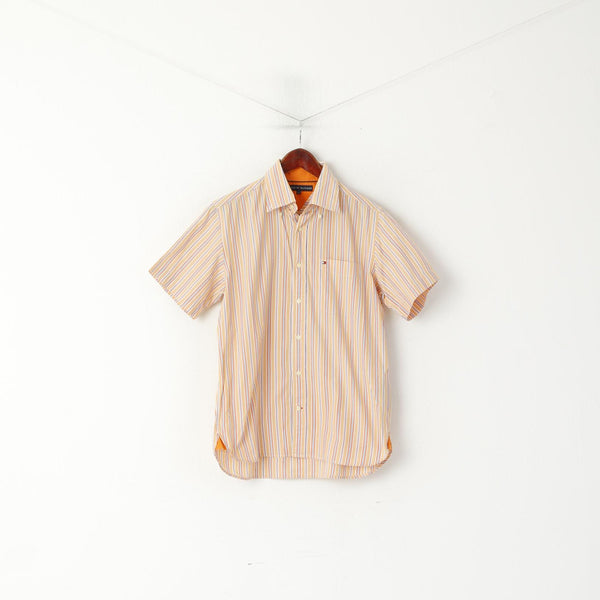 Tommy Hilfiger Men S Casual Shirt Orange Striped Cotton Short Sleeve Top