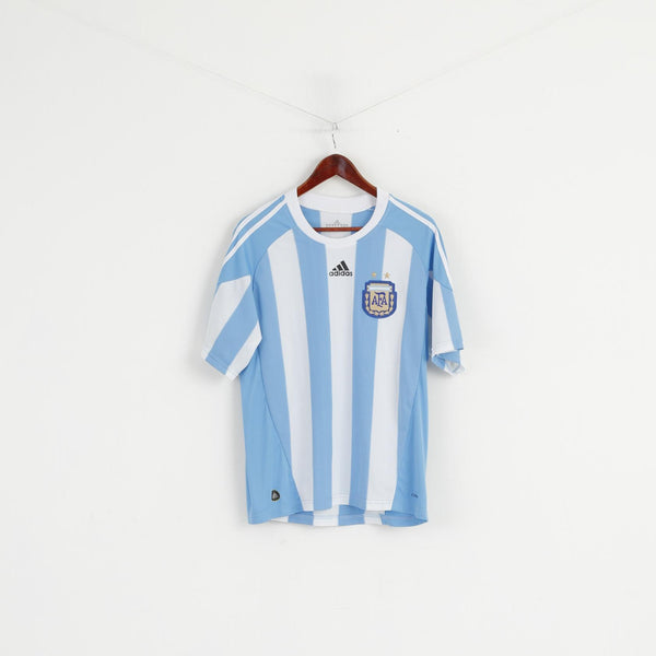 Adidas AFA Men M Shirt White Blue Striped Argentina Football Soccer Trikot Vintage Jersey Top