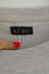Armani Jeans Men L (S) Shirt Grey Graphic AJ Cotton Summer Crew Neck Top