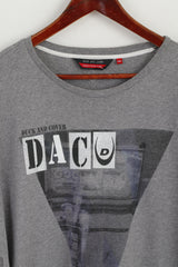 Duck and Cover Men XXL (XL)  T- Shirt Grey Cotton Graphic Short Sleeve Crew Neck Top