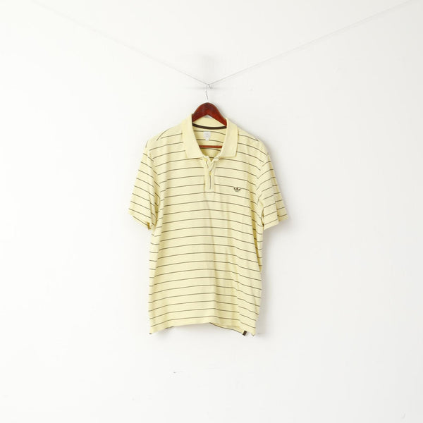 Adidas Men XL Polo Shirt Yellow Retro Cotton Striped Detailed Buttons Stretch Top