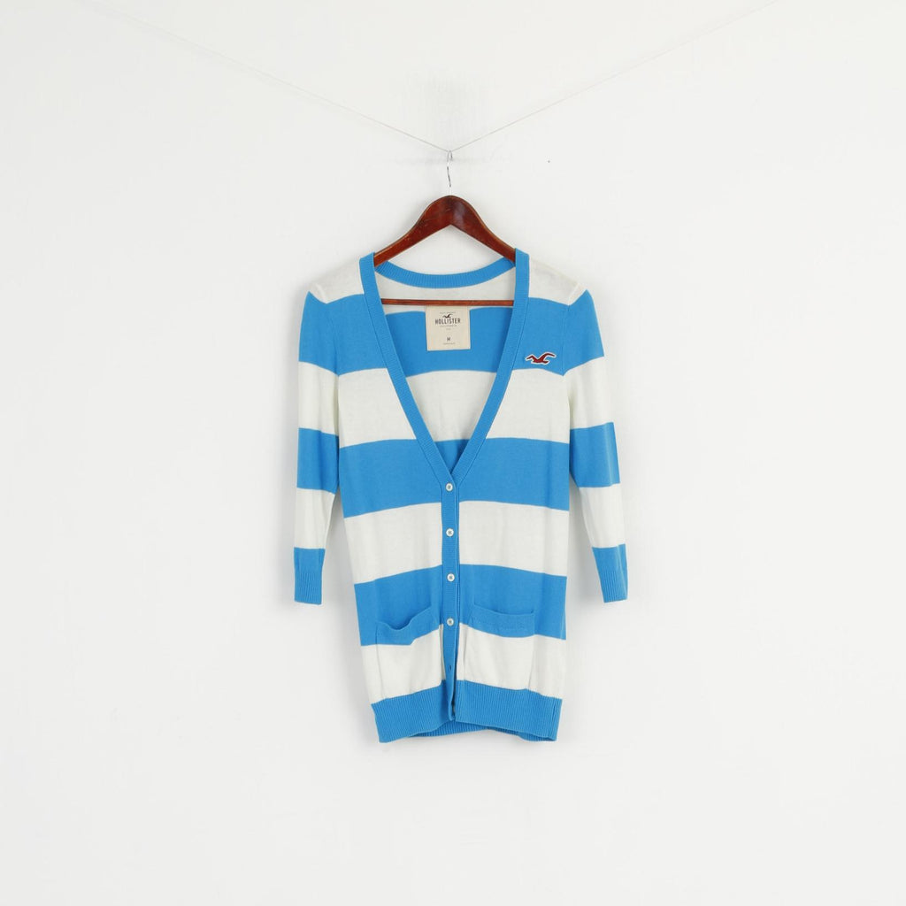 Hollister Women M Sweater Turquoise Striped V Neck Button Front Cardigan