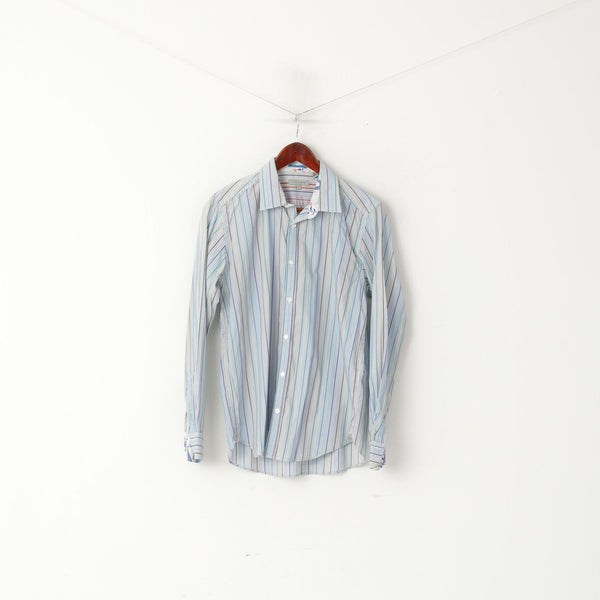 Ted Baker London Men 4 M Casual Shirt Blue Striped Fit Cotton Long Sleeve Top