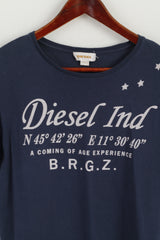 Diesel Ind Womens L T-Shirt Crew Neck Graphic Navy Cotton Top