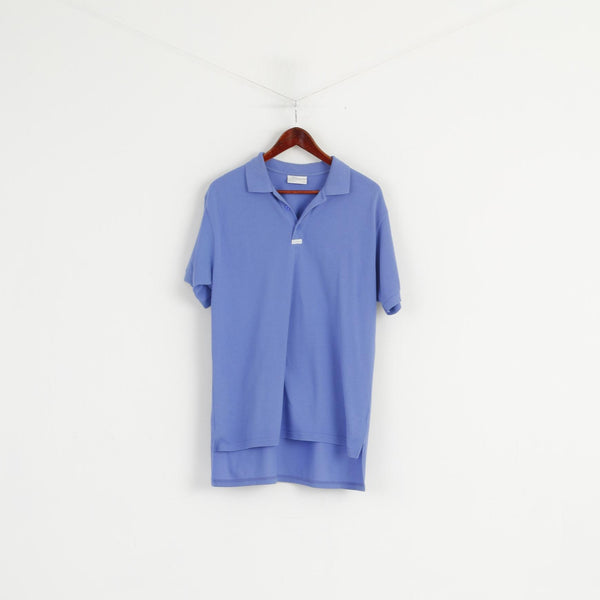 Adidas Men 50 L Polo Shirt Blue Cotton Vintage Short Sleeve Plain Top