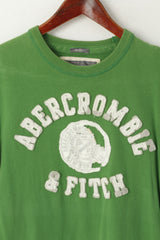 Abercrombie & Fitch Men S Shirt Green Cotton Graphic Embroidered Muscle Top