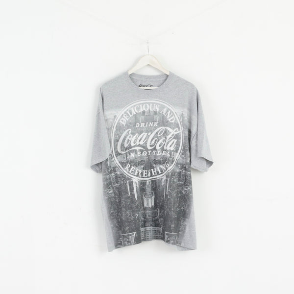 Coca Cola Men XXL T-Shirt Grey Cotton Graphic Drink Basic Crew Neck Top