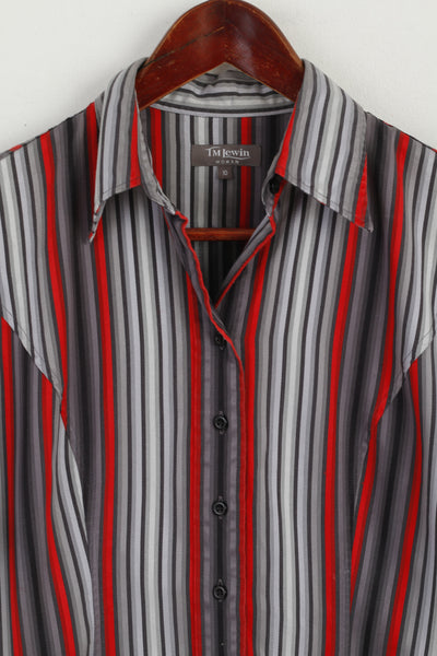 Ede and Ravenscroft Men 17.5 44 XXL Casual Shirt White Orange Striped Cotton Cuff Long Sleeve