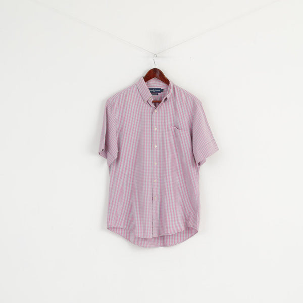Ralph Lauren Men 16 L Casual Shirt Pink Check Button Down Collar Short Sleeve Top