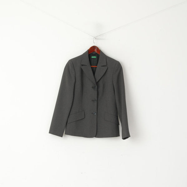 United Colors Of Benetton Women 40 XS Blazer Gray Single Breasted Italy Jacket