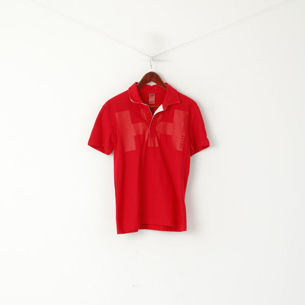 Helly Hansen Men S Polo Shirt Red Cotton Ebroidered Back Short Sleeve Top